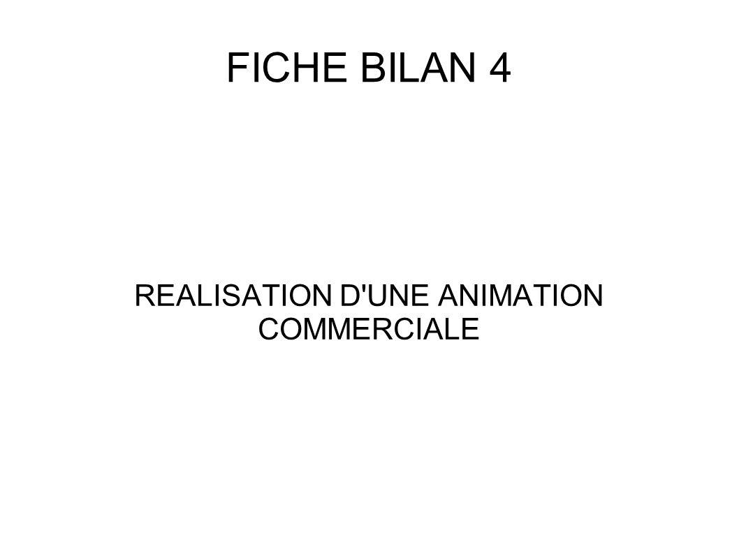 FICHE BILAN 4 REALISATION D'UNE ANIMATION COMMERCIALE