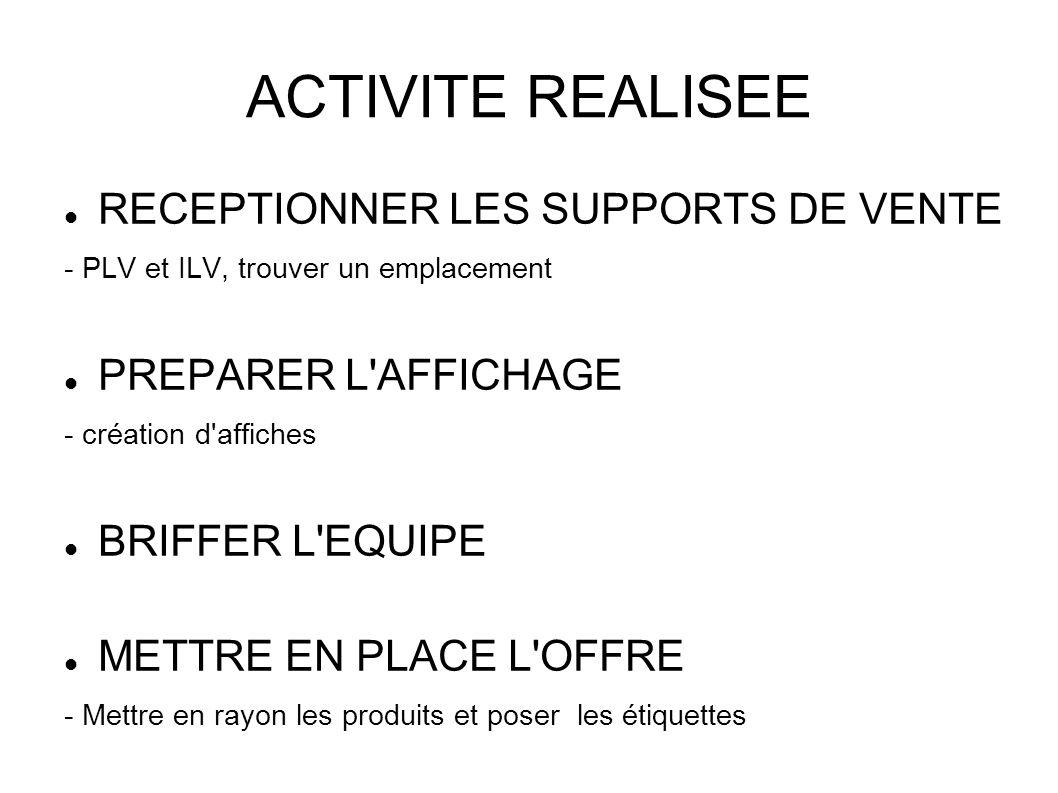 ACTIVITE REALISEE RECEPTIONNER LES SUPPORTS DE VENTE - PLV et ILV, trouver un emplacement PREPARER L'AFFICHAGE - création d'affiches BRIFFER L'EQUIPE