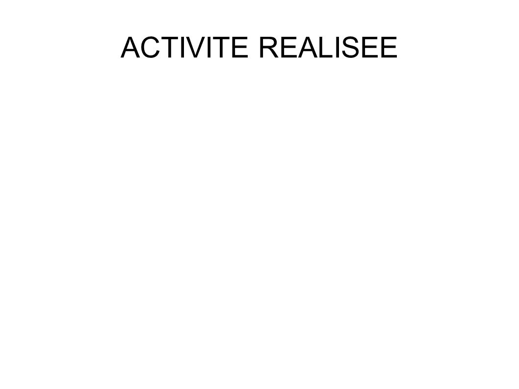 ACTIVITE REALISEE