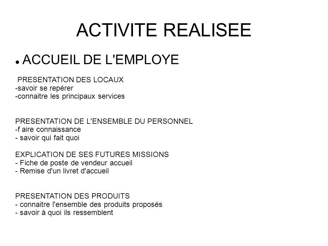ACTIVITE REALISEE ACCUEIL DE L'EMPLOYE PRESENTATION DES LOCAUX -savoir se repérer -connaitre les principaux services PRESENTATION DE L'ENSEMBLE DU PER