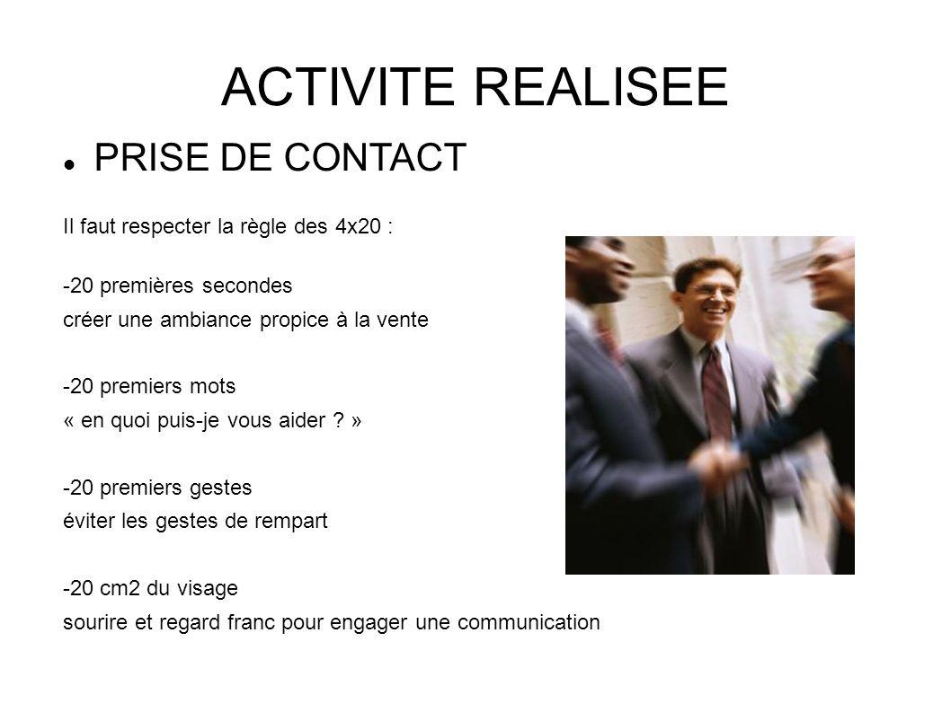 ACTIVITE REALISEE PRISE DE CONTACT Il faut respecter la règle des 4x20 : -20 premières secondes créer une ambiance propice à la vente -20 premiers mot