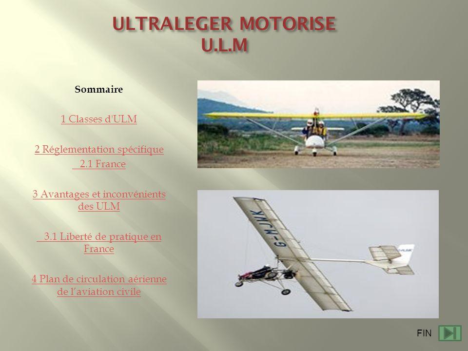 ULTRALEGER MOTORISE U.L.M Sommaire 1 Classes d'ULM 2 Réglementation spécifique 2.1 France 3 Avantages et inconvénients des ULM 3.1 Liberté de pratique