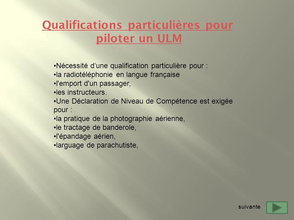 Nécessité dune qualification particulière pour : la radiotéléphonie en langue française l'emport d'un passager, les instructeurs. Une Déclaration de N