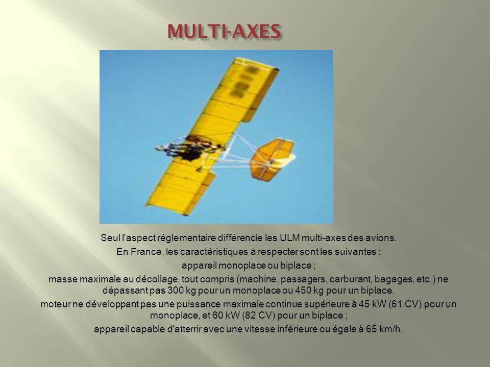 MULTI-AXES Seul l'aspect réglementaire différencie les ULM multi-axes des avions. En France, les caractéristiques à respecter sont les suivantes : app