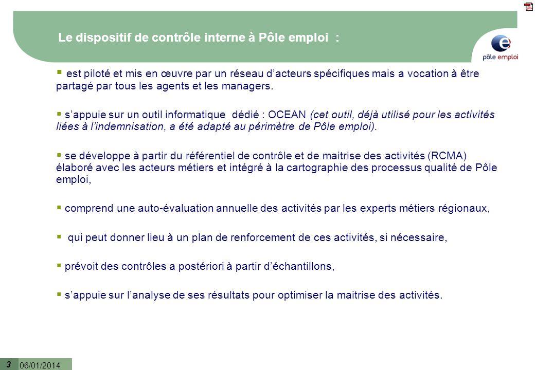 3 06/01/2014 3 Le dispositif de contrôle interne à Pôle emploi : est piloté et mis en œuvre par un réseau dacteurs spécifiques mais a vocation à être