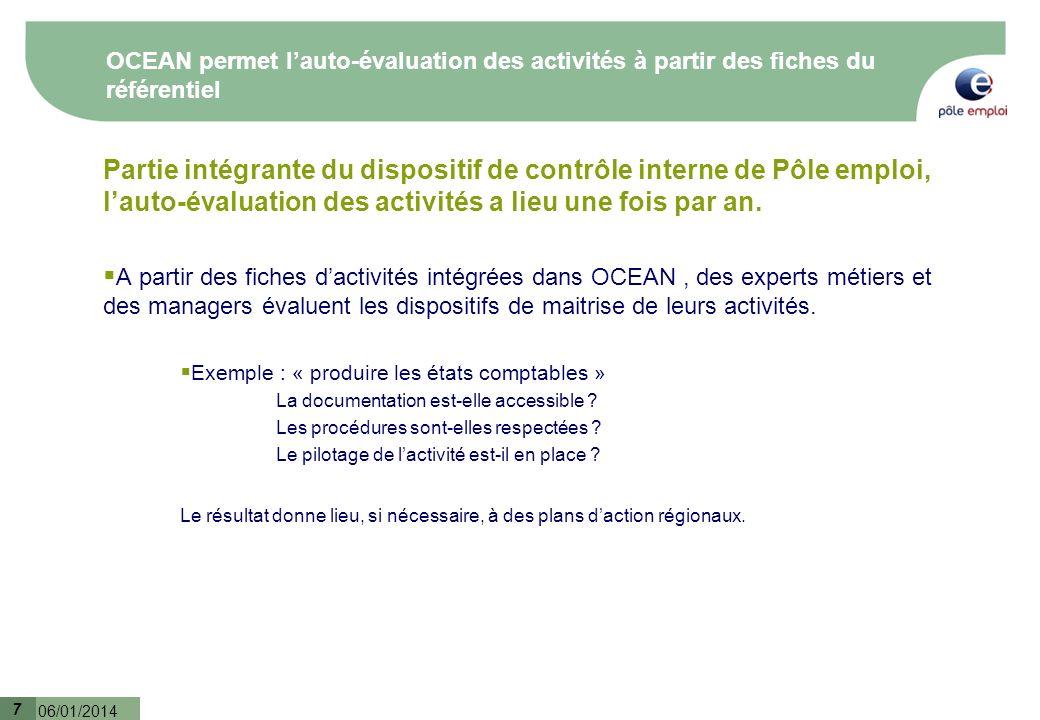 7 06/01/2014 7 OCEAN permet lauto-évaluation des activités à partir des fiches du référentiel Partie intégrante du dispositif de contrôle interne de P