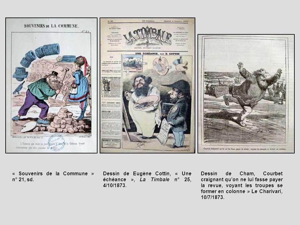 Dessin de Cham, Courbet craignant quon ne lui fasse payer la revue, voyant les troupes se former en colonne » Le Charivari, 10/7/1873. « Souvenirs de
