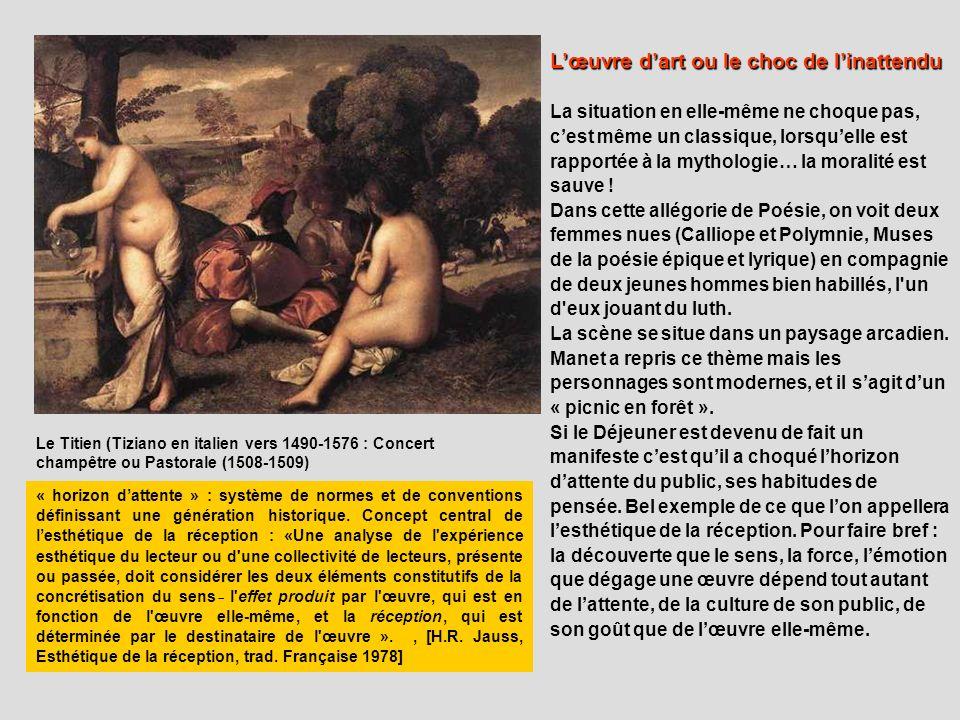 Le Titien (Tiziano en italien vers 1490-1576 : Concert champêtre ou Pastorale (1508-1509) Lœuvre dart ou le choc de linattendu La situation en elle-mê