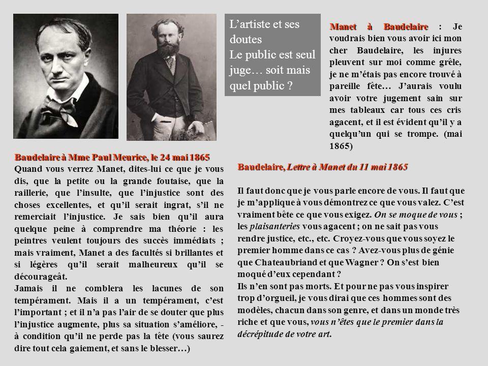 Baudelaire, Lettre à Manet du 11 mai 1865 Il faut donc que je vous parle encore de vous. Il faut que je mapplique à vous démontrez ce que vous valez.