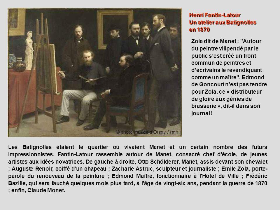 Henri Fantin-Latour Un atelier aux Batignolles en 1870 Les Batignolles étaient le quartier où vivaient Manet et un certain nombre des futurs impressio