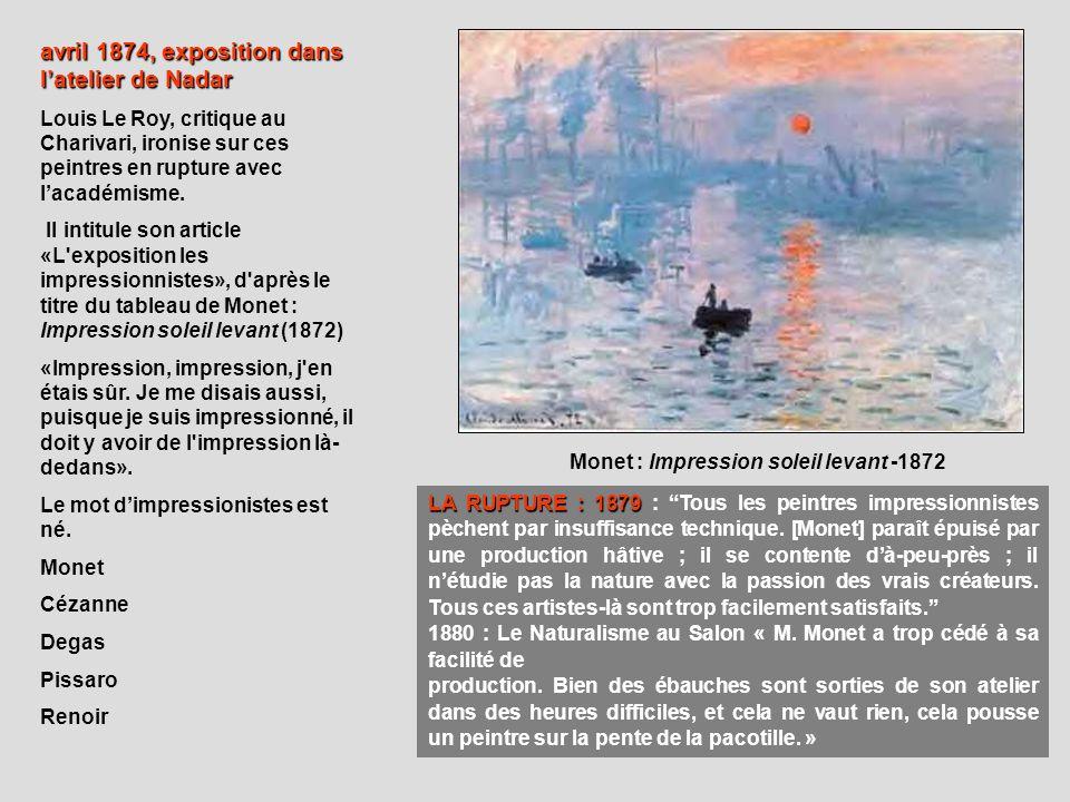 avril 1874, exposition dans latelier de Nadar Louis Le Roy, critique au Charivari, ironise sur ces peintres en rupture avec lacadémisme. Il intitule s