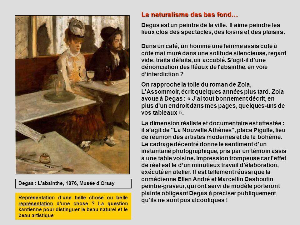Degas : L'absinthe, 1876, Musée d'Orsay Le naturalisme des bas fond… Degas est un peintre de la ville. Il aime peindre les lieux clos des spectacles,