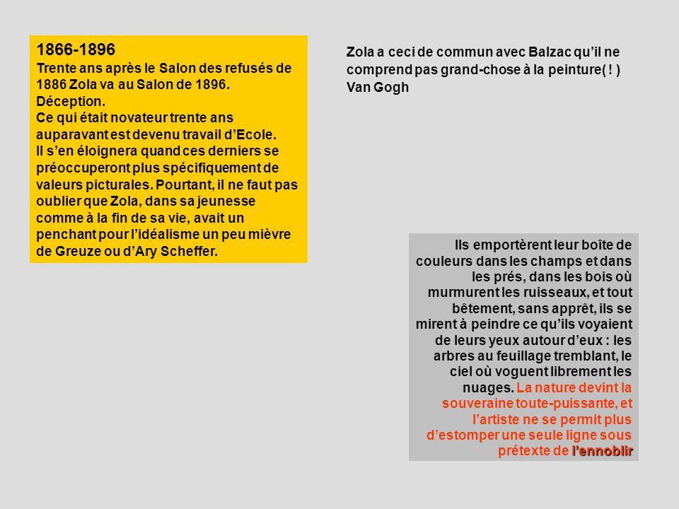 1866-1896 Trente ans après le Salon des refusés de 1886 Zola va au Salon de 1896. Déception. Ce qui était novateur trente ans auparavant est devenu tr