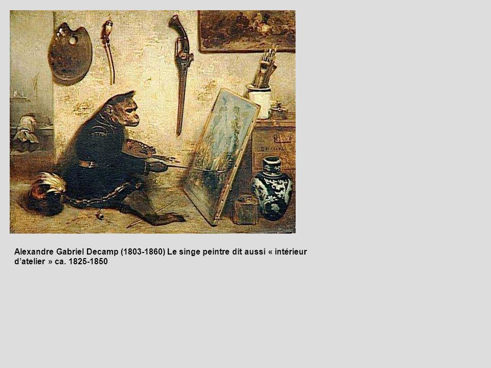Alexandre Gabriel Decamp (1803-1860) Le singe peintre dit aussi « intérieur datelier » ca. 1825-1850