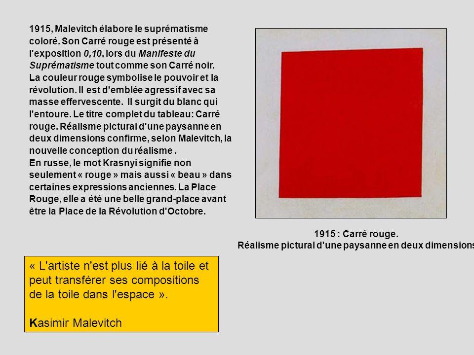 1915, Malevitch élabore le suprématisme coloré. Son Carré rouge est présenté à l'exposition 0,10, lors du Manifeste du Suprématisme tout comme son Car