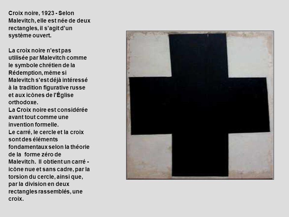 Croix noire, 1923 - Selon Malevitch, elle est née de deux rectangles, il s'agit d'un système ouvert. La croix noire n'est pas utilisée par Malevitch c