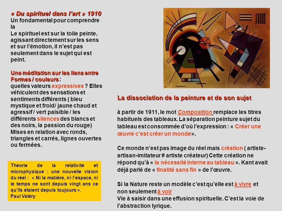 « Du spirituel dans lart » 1910 Un fondamental pour comprendre la Le spirituel est sur la toile peinte, agissant directement sur les sens et sur lémot