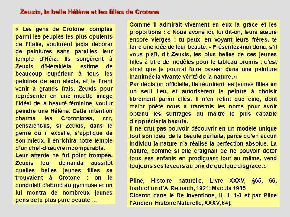« Les gens de Crotone, comptés parmi les peuples les plus opulents de lItalie, voulurent jadis décorer de peintures sans pareilles leur temple dHéra.