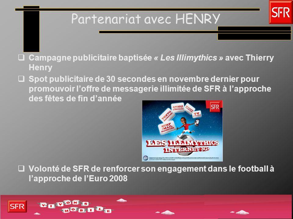 Partenariat avec HENRY Campagne publicitaire baptisée « Les Illimythics » avec Thierry Henry Spot publicitaire de 30 secondes en novembre dernier pour