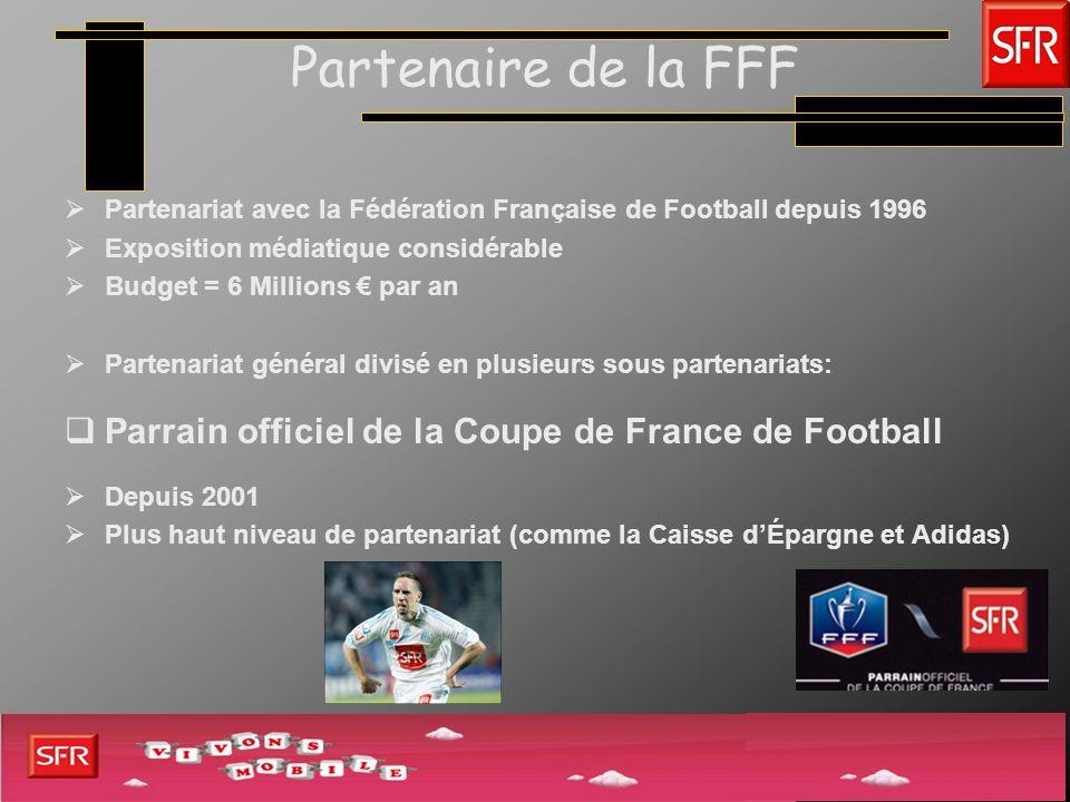 Partenaire de la FFF Partenaire officiel de lÉquipe de France 2 ème niveau de partenariat Dépenses = 500 000 en moyenne par an EdF 25 M par an en contrats de sponsoring (2 ème Nation la plus attrayante) Sassocier à lEdF constitue un vrai avantage en terme de notoriété SFR 27% de notoriété spontanée au classement des marques émergeant le plus dans le football Ex: Coupe du Monde 2006 en Allemagne plus de 50% de la population a associé SFR à lEdF plus de 40% ont associé la marque à la Coupe du Monde SFR, détenteur exclusif des droits mobiles pour la France
