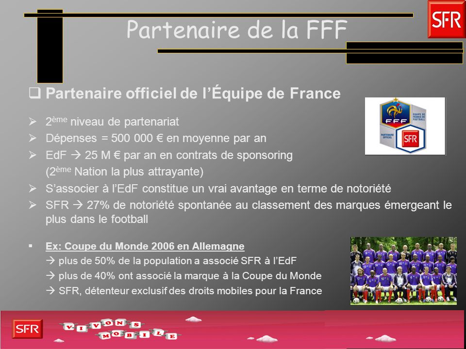Partenaire de la FFF Partenaire officiel de lÉquipe de France 2 ème niveau de partenariat Dépenses = 500 000 en moyenne par an EdF 25 M par an en cont