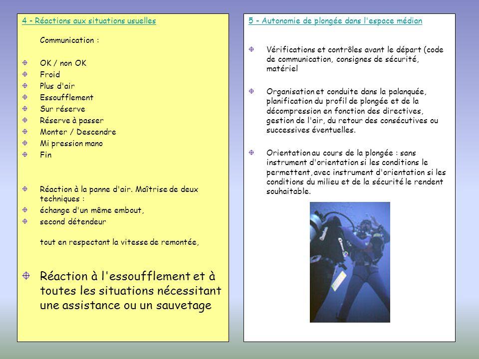 4 - Réactions aux situations usuelles 4 - Réactions aux situations usuelles Communication : OK / non OK Froid Plus d'air Essoufflement Sur réserve Rés