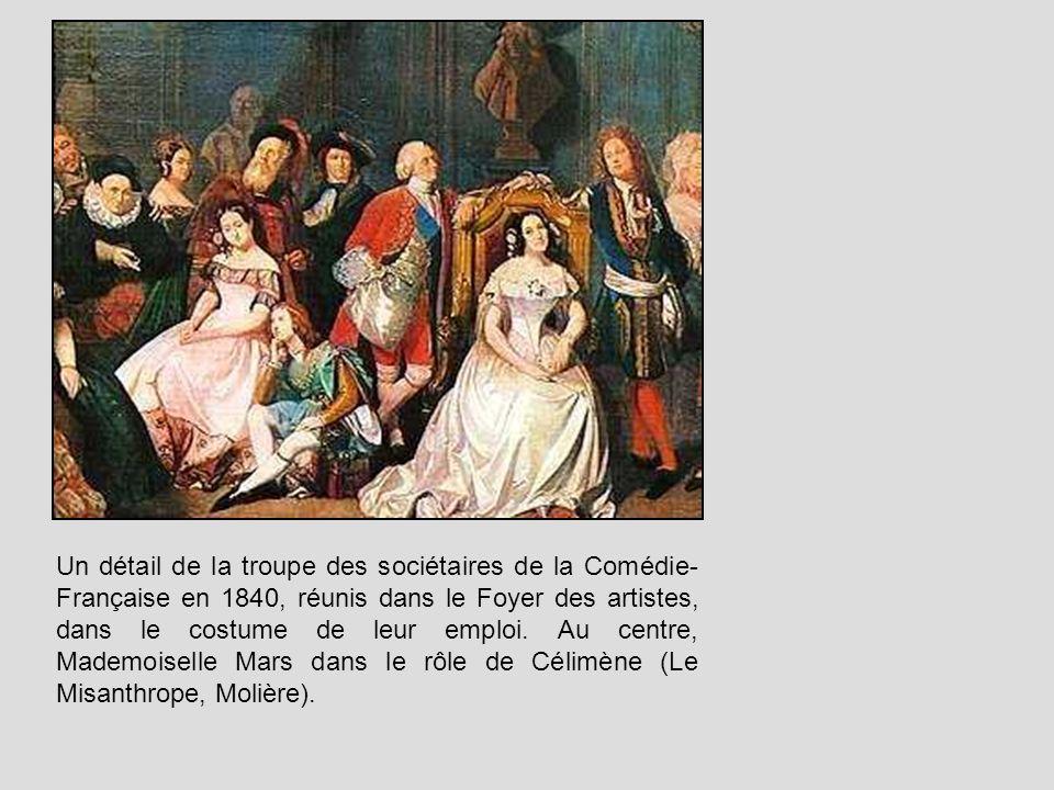 Un détail de la troupe des sociétaires de la Comédie- Française en 1840, réunis dans le Foyer des artistes, dans le costume de leur emploi. Au centre,