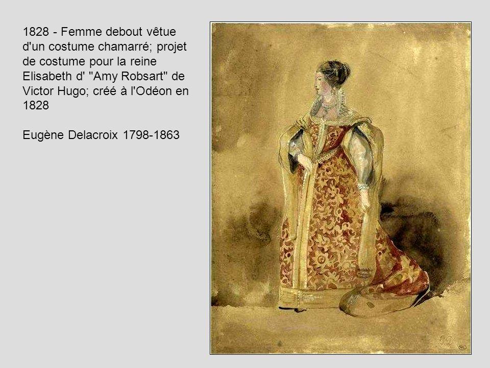 1828 - Femme debout vêtue d'un costume chamarré; projet de costume pour la reine Elisabeth d'