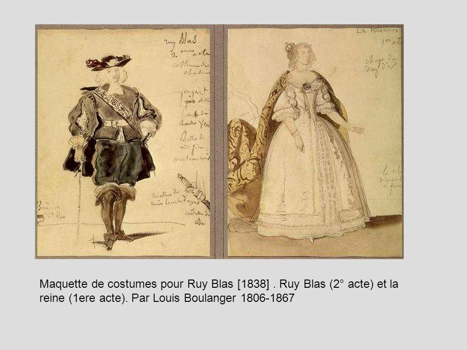 Maquette de costumes pour Ruy Blas [1838]. Ruy Blas (2° acte) et la reine (1ere acte). Par Louis Boulanger 1806-1867