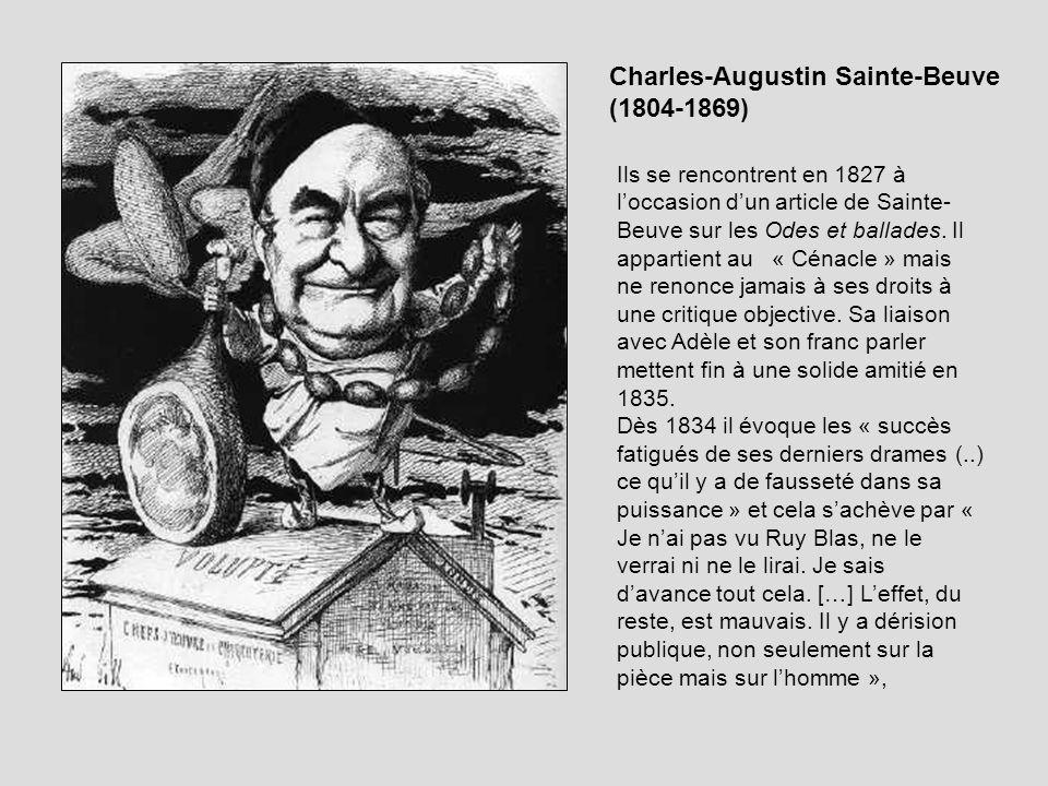 Ils se rencontrent en 1827 à loccasion dun article de Sainte- Beuve sur les Odes et ballades. Il appartient au « Cénacle » mais ne renonce jamais à se