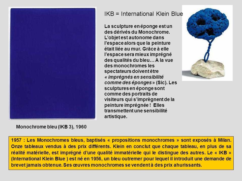 Monochrome bleu (IKB 3), 1960 IKB = International Klein Blue 1957 : Les Monochromes bleus, baptisés « propositions monochromes » sont exposés à Milan.