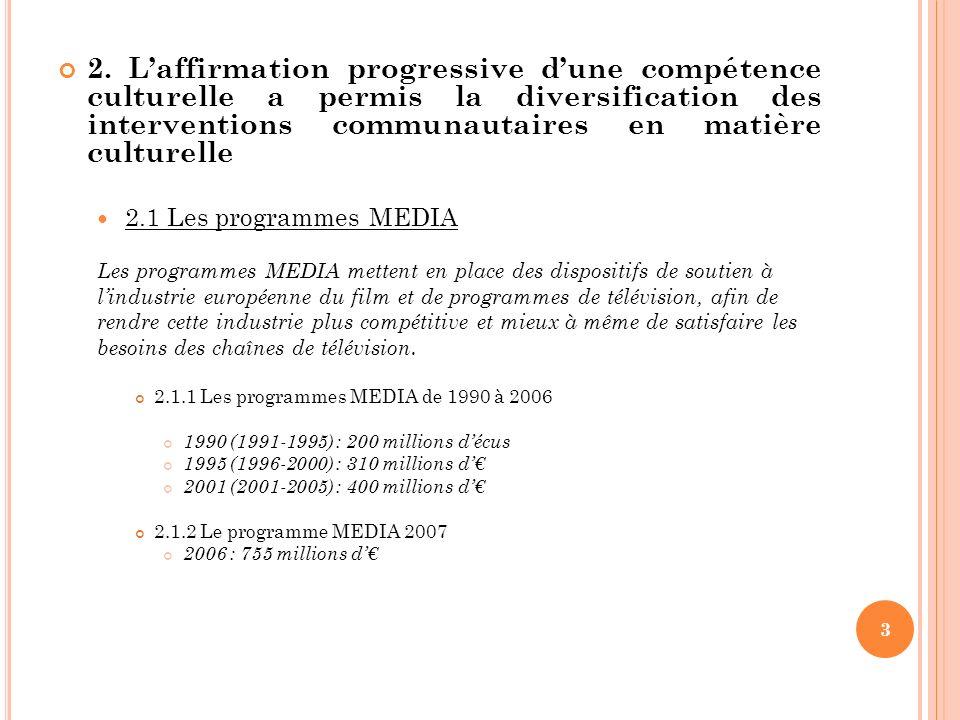 2. Laffirmation progressive dune compétence culturelle a permis la diversification des interventions communautaires en matière culturelle 2.1 Les prog