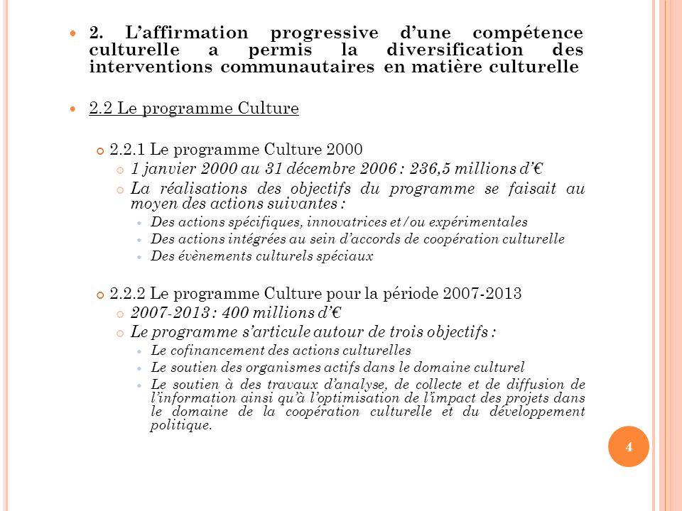 L ES PRINCIPAUX TEXTES Mémorandum de la Commission publié en 1972 : « Pour une action communautaire dans le secteur culturel » Le Parlement européen crée un nouvel article budgétaire en 1973 : « dépenses relatives à laction culturelle » La convention de Lomé en 1976 Art.