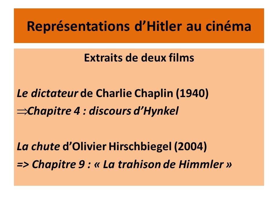 Représentations dHitler au cinéma Extraits de deux films Le dictateur de Charlie Chaplin (1940) Chapitre 4 : discours dHynkel La chute dOlivier Hirsch