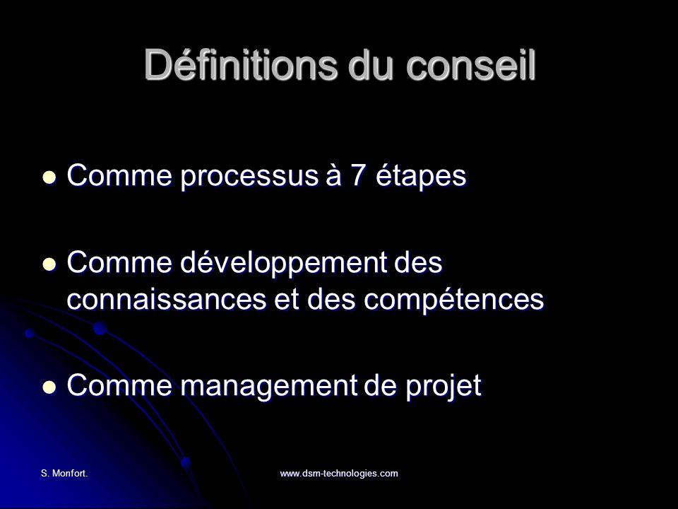 S. Monfort.www.dsm-technologies.com Définitions du conseil Comme processus à 7 étapes Comme processus à 7 étapes Comme développement des connaissances