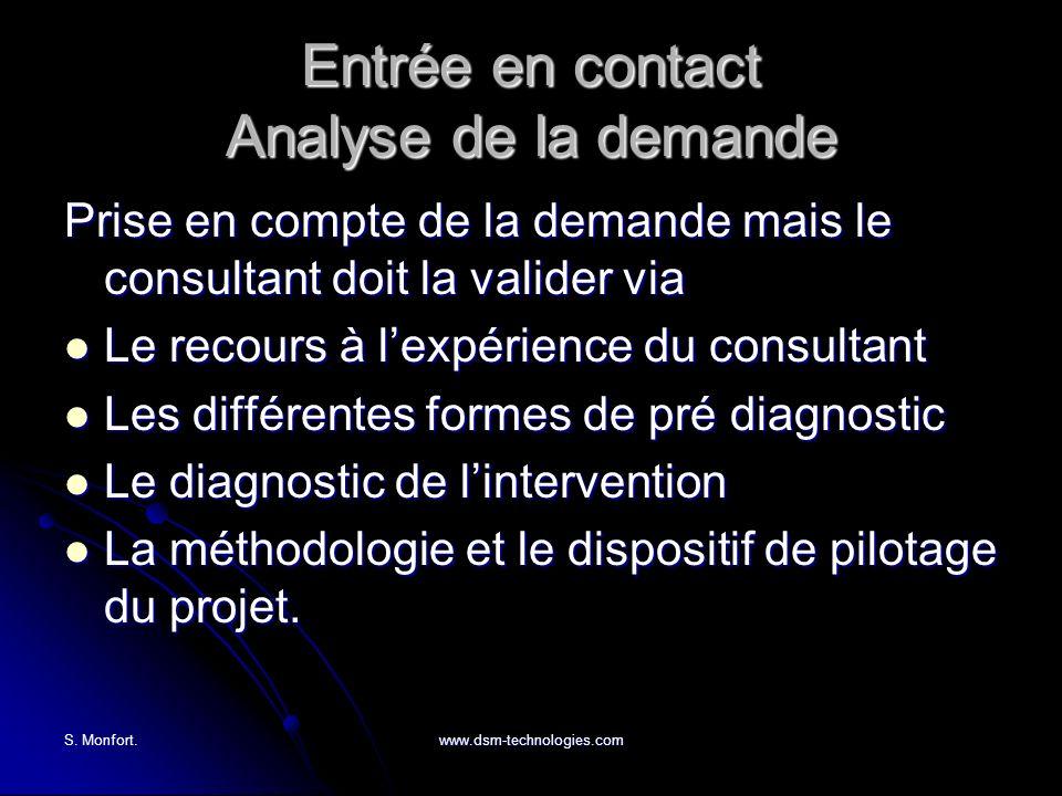 S. Monfort.www.dsm-technologies.com Entrée en contact Analyse de la demande Prise en compte de la demande mais le consultant doit la valider via Le re