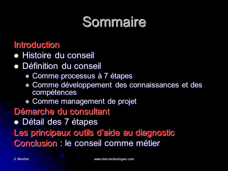 S. Monfort.www.dsm-technologies.com Sommaire Introduction Histoire du conseil Histoire du conseil Définition du conseil Définition du conseil Comme pr