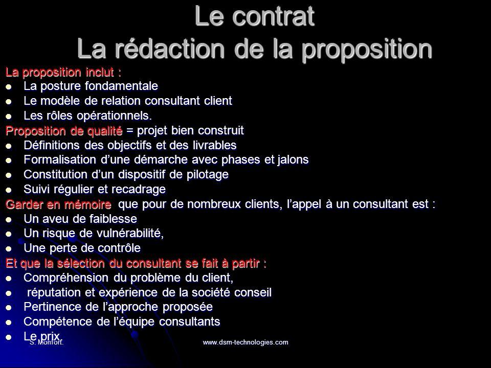 S. Monfort.www.dsm-technologies.com Le contrat La rédaction de la proposition La proposition inclut : La posture fondamentale La posture fondamentale