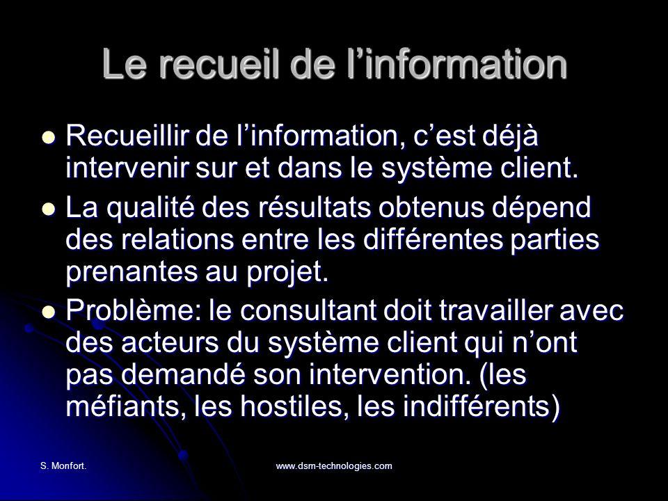 S. Monfort.www.dsm-technologies.com Le recueil de linformation Recueillir de linformation, cest déjà intervenir sur et dans le système client. Recueil