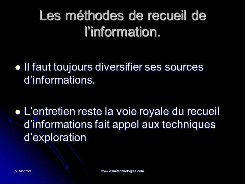 S. Monfort.www.dsm-technologies.com Les méthodes de recueil de linformation. Il faut toujours diversifier ses sources dinformations. Il faut toujours