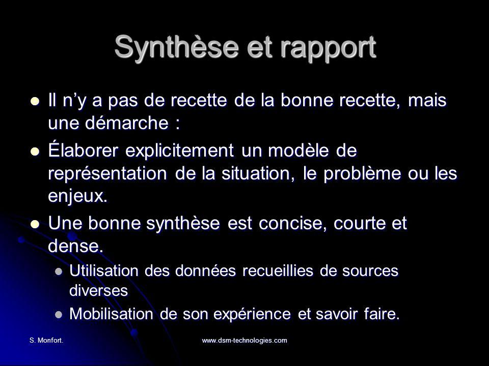 S. Monfort.www.dsm-technologies.com Synthèse et rapport Il ny a pas de recette de la bonne recette, mais une démarche : Il ny a pas de recette de la b