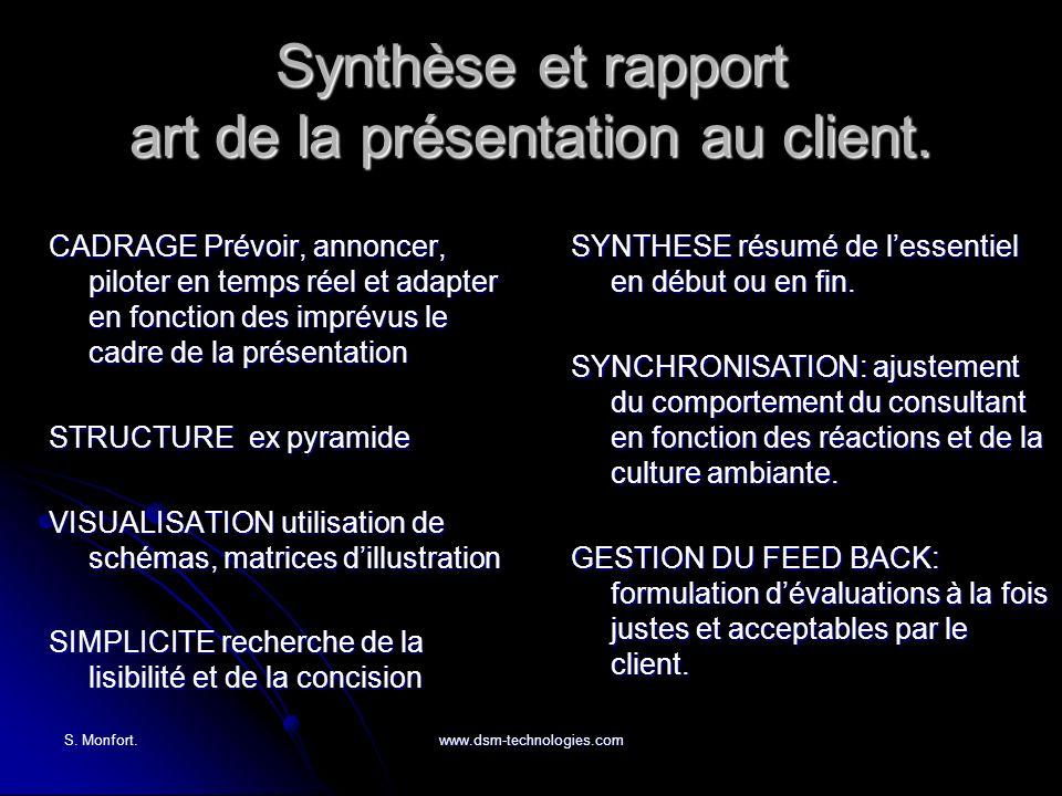 S. Monfort.www.dsm-technologies.com Synthèse et rapport art de la présentation au client. CADRAGE Prévoir, annoncer, piloter en temps réel et adapter