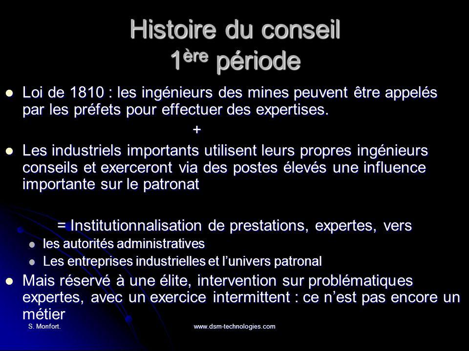 S. Monfort.www.dsm-technologies.com Histoire du conseil 1 ère période Loi de 1810 : les ingénieurs des mines peuvent être appelés par les préfets pour