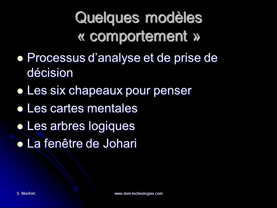S. Monfort.www.dsm-technologies.com Quelques modèles « comportement » Processus danalyse et de prise de décision Processus danalyse et de prise de déc