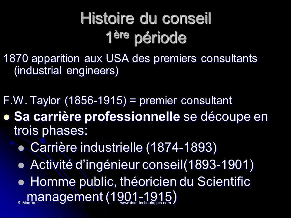 S. Monfort.www.dsm-technologies.com Histoire du conseil 1 ère période 1870 apparition aux USA des premiers consultants (industrial engineers) F.W. Tay