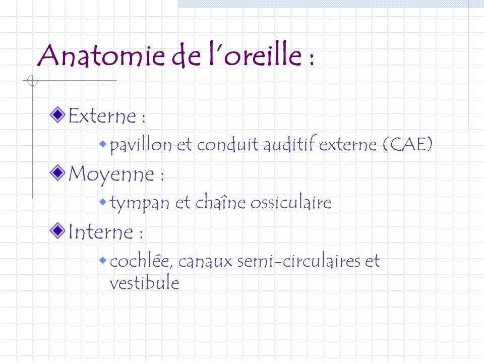 Anatomie de loreille : Externe : pavillon et conduit auditif externe (CAE) Moyenne : tympan et chaîne ossiculaire Interne : cochlée, canaux semi-circu