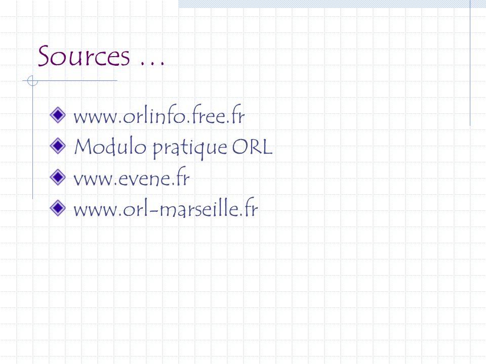 Sources … www.orlinfo.free.fr Modulo pratique ORL vww.evene.fr www.orl-marseille.fr