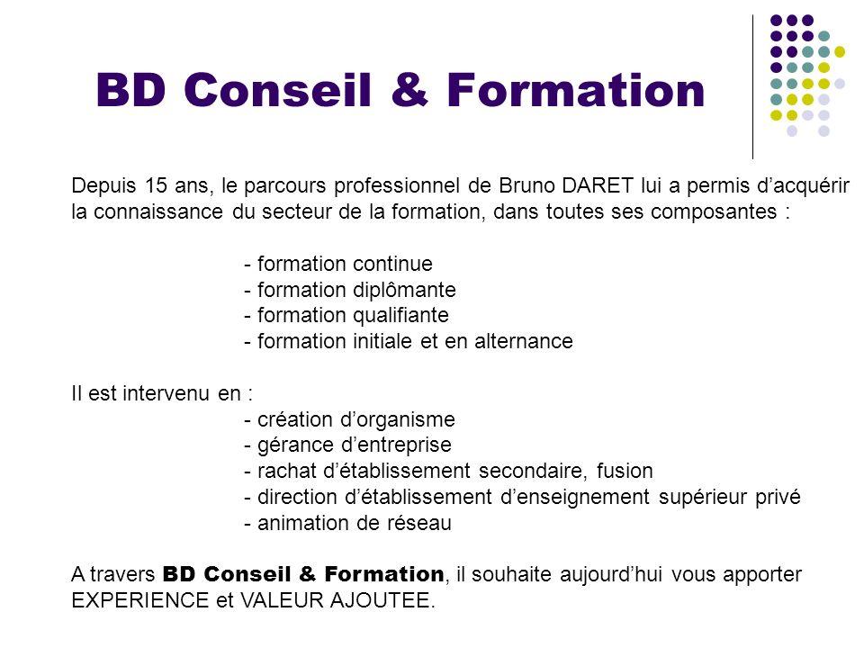 BD Conseil & Formation Depuis 15 ans, le parcours professionnel de Bruno DARET lui a permis dacquérir la connaissance du secteur de la formation, dans