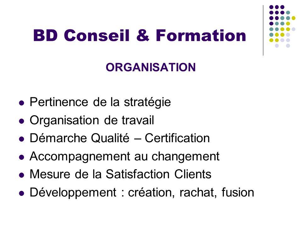 BD Conseil & Formation ORGANISATION Pertinence de la stratégie Organisation de travail Démarche Qualité – Certification Accompagnement au changement M