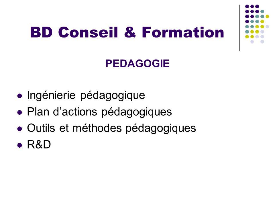 BD Conseil & Formation PEDAGOGIE Ingénierie pédagogique Plan dactions pédagogiques Outils et méthodes pédagogiques R&D